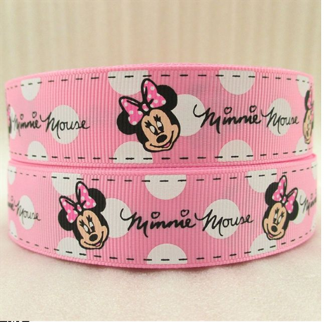 1 METRE MINNIE MOUSE PINK + WHITE RIBBON SIZE 1 INCH BOWS HEADBAND BIRTHDAY CAKE CARD MAKING